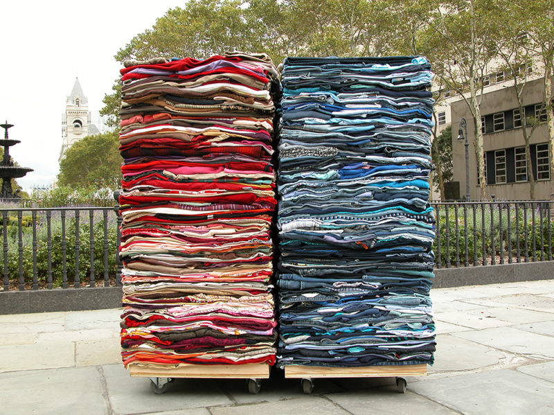 Clothing Sculpture: Into the Fold, Brooklyn, 2009 (red/white)