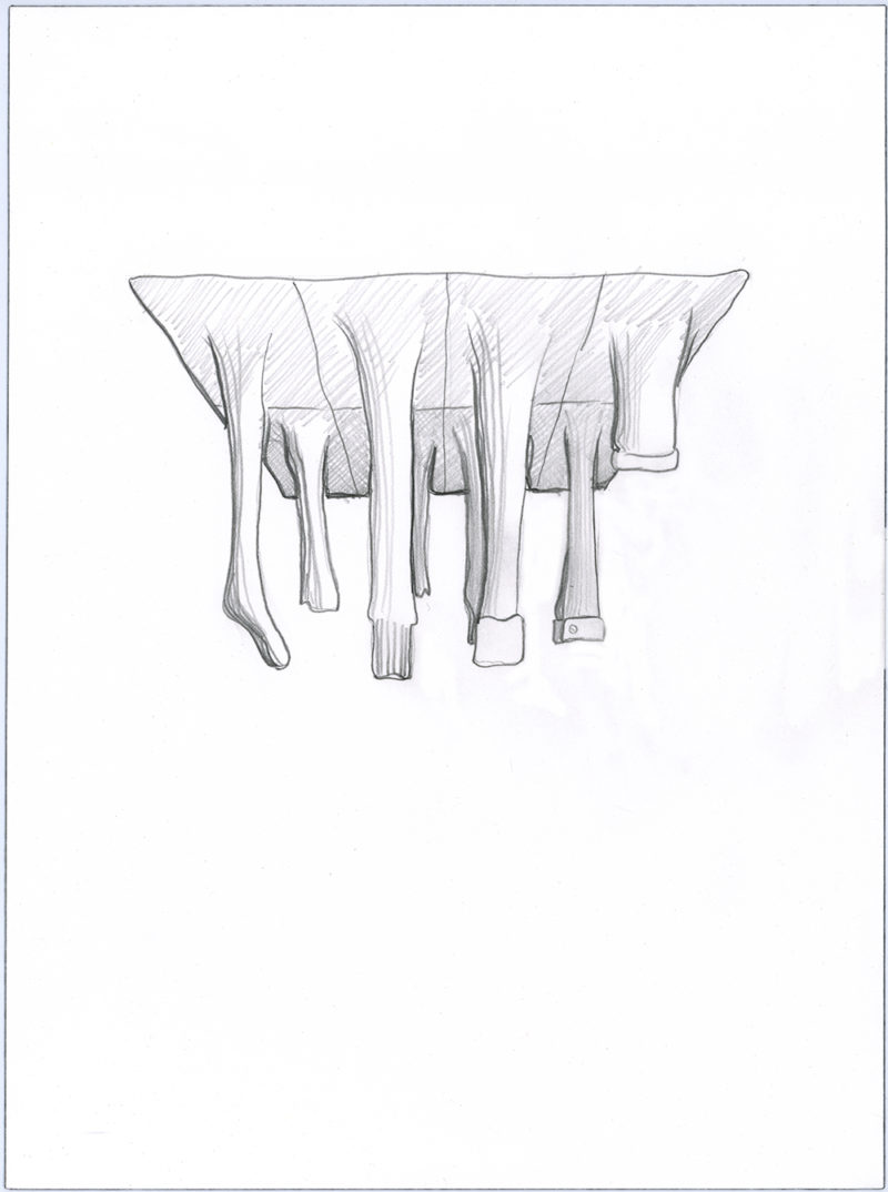 Clothing Sculpture Drawing: Scrim Below, 2010