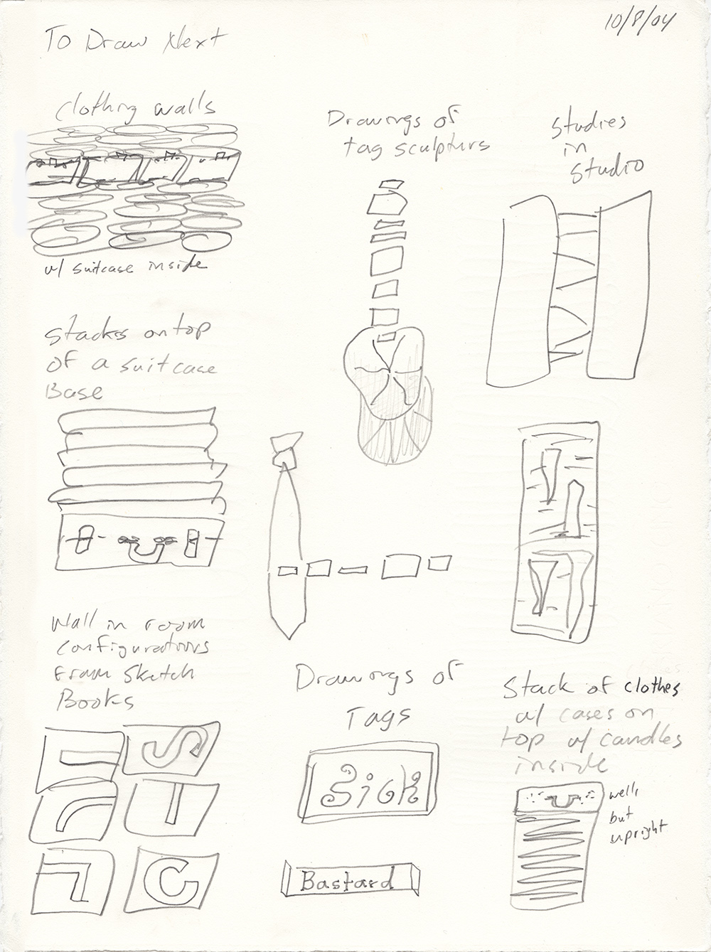 Clothing Sculpture Drawings: To Draw Next, 2004