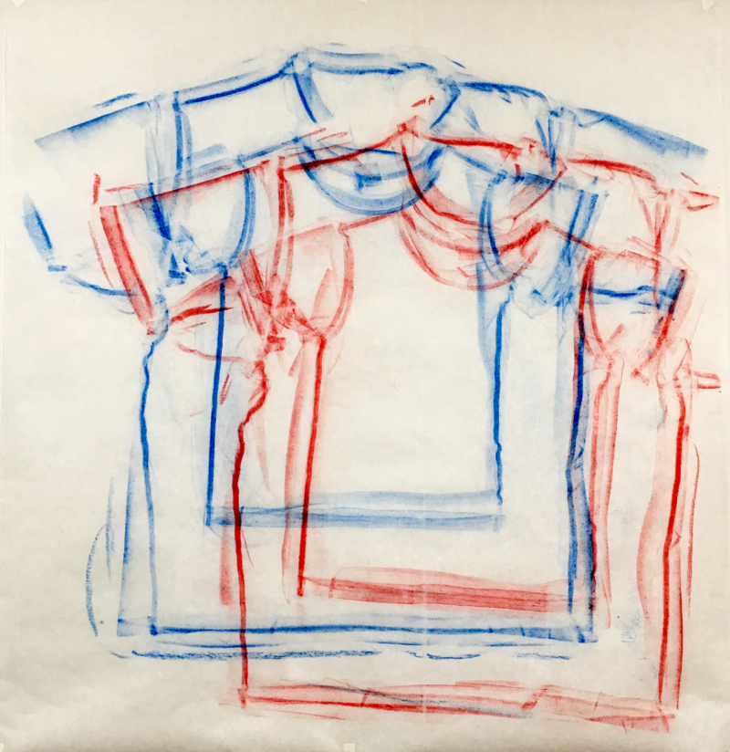 Clothing Rubbing: Blue/Red Offset: Study in wax crayon, 2019