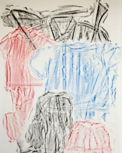 Clothing Rubbing: Group Blocks: Study in wax crayon, 2019