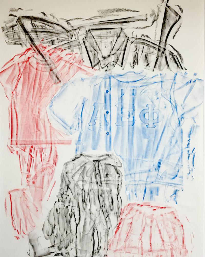 Clothing Rubbing: Group Blocks: Study in wax crayon, 2019