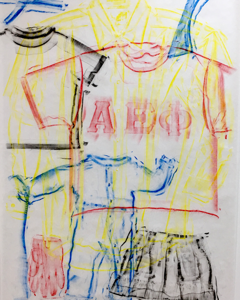 Clothing Rubbing: Group Layers: Study in wax crayon, 2019