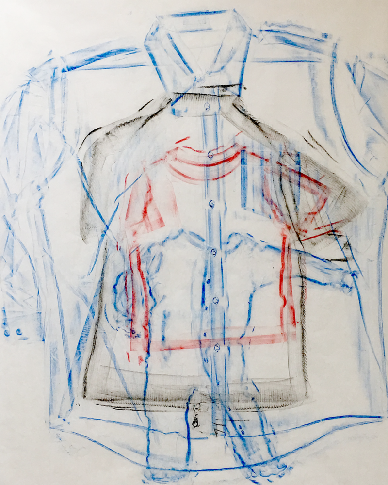 Clothing Rubbing: Nested: Study in wax crayon, 2019