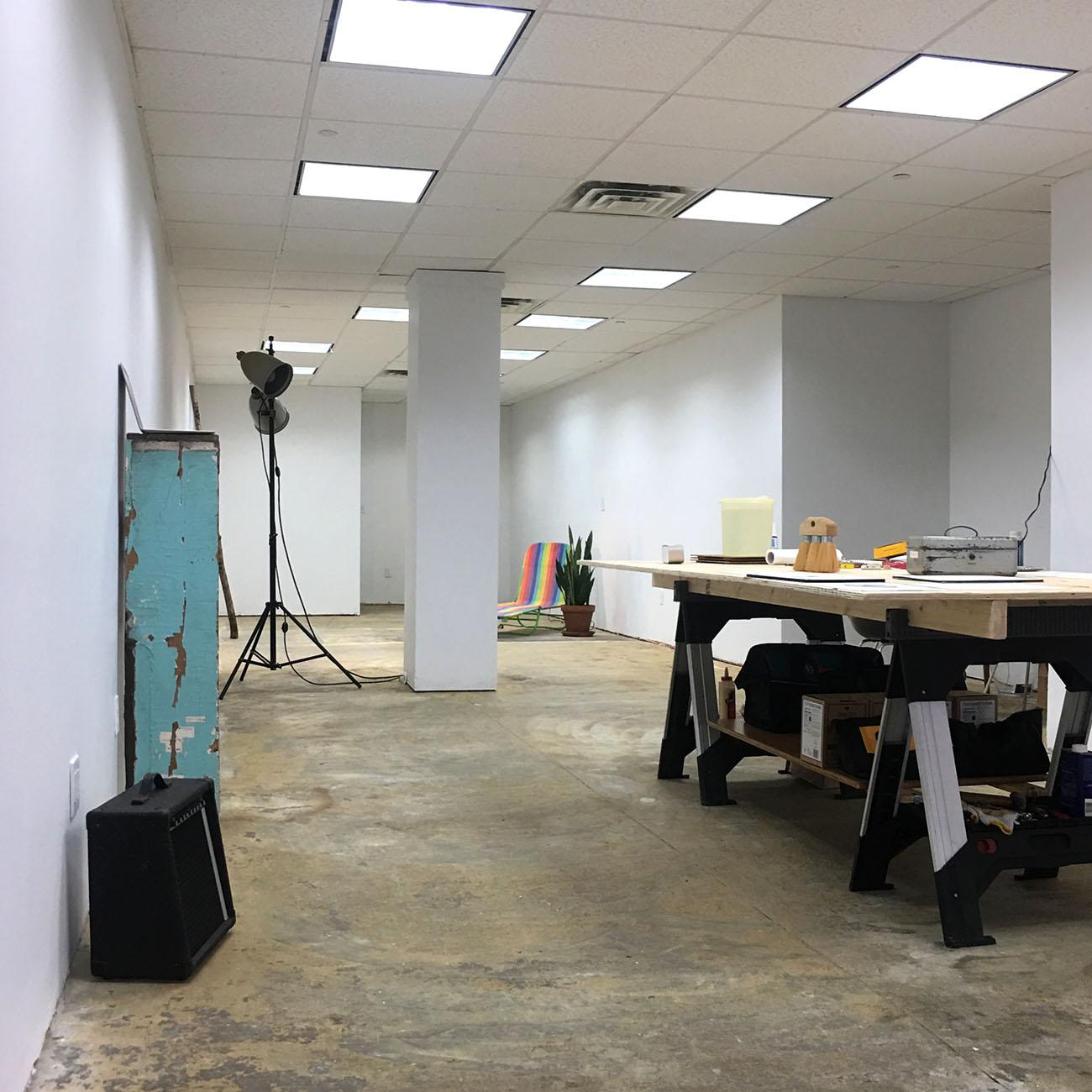 Pop-up storefront studio, from the door
